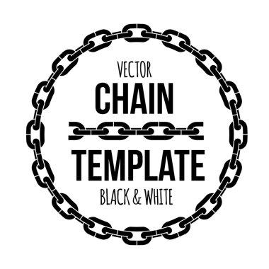 ring shape chain emblem, black and white vector illustration logo.