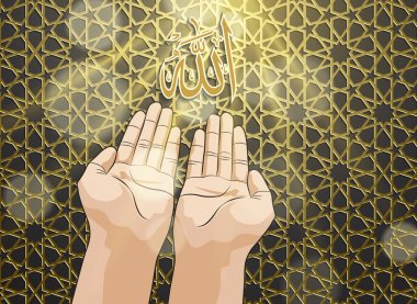 Muslim hands in pose of praying