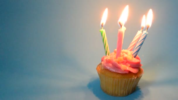 Pink Birthday cupcake with candle