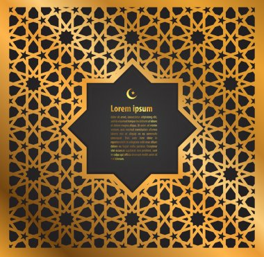 gold ornament ramadan kareem greeting card