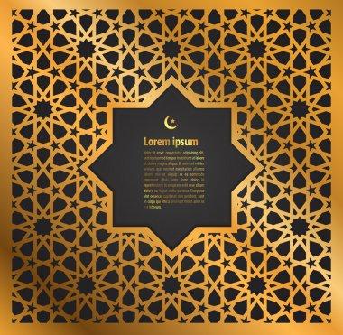 gold ornament ramadan kareem greeting card
