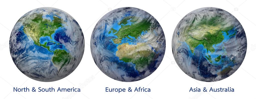 Planet Earth, Global World showing America, Europe, Africa, Asia, continent. Photo realistic 3 D rendering with clipping path