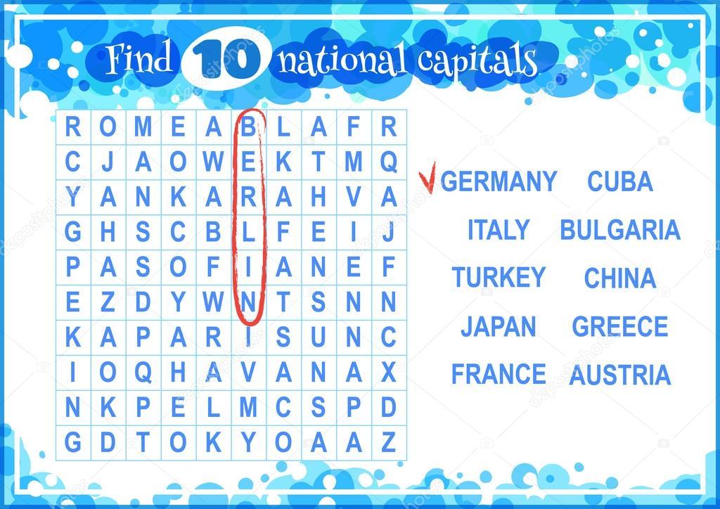 Lernspiel für Kinder, Wortsuche — Stockvektor © yavi #101274050