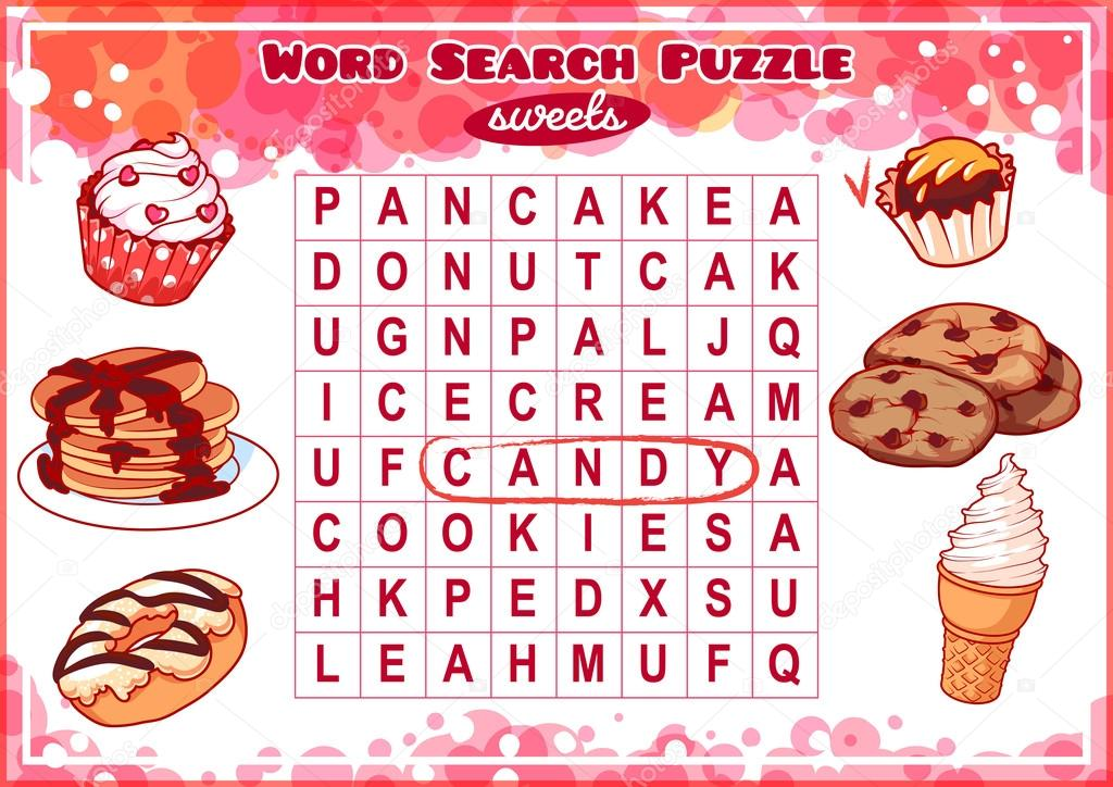 Word search puzzle with sweets  — Stock Vector © yavi #102639666