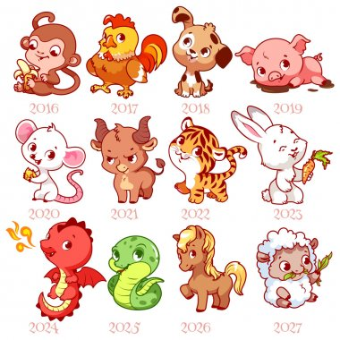 Set of zodiac signs in cartoon style. Chinese zodiac.