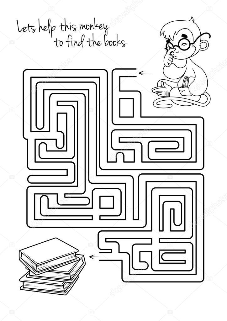 Labyrinth Spiel mit Affe und Bücher für Kinder — Stockvektor © yavi ...