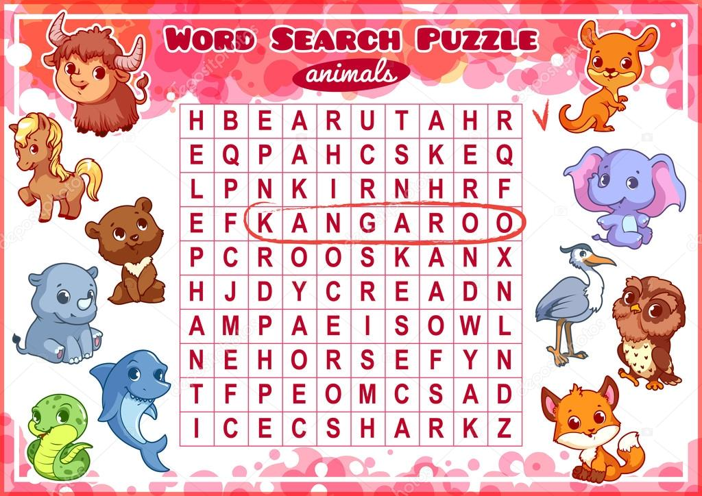 Educational game for kids  Word search puzzle  — Stock