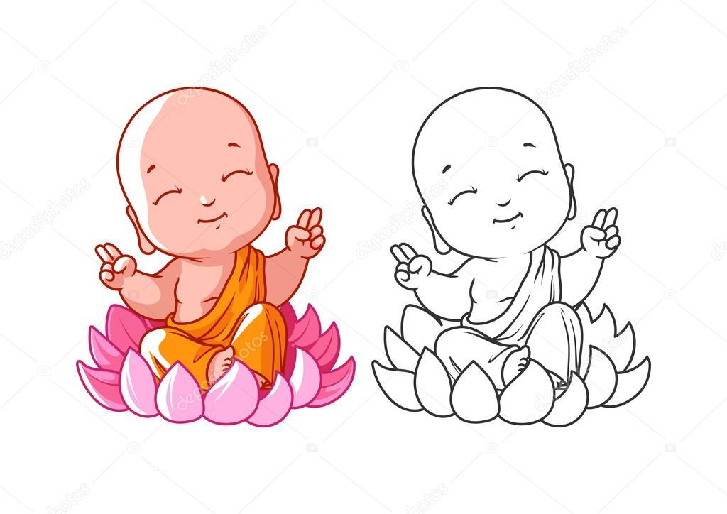 Pequeño monje de dibujos animados en el loto. Página para colorear ...