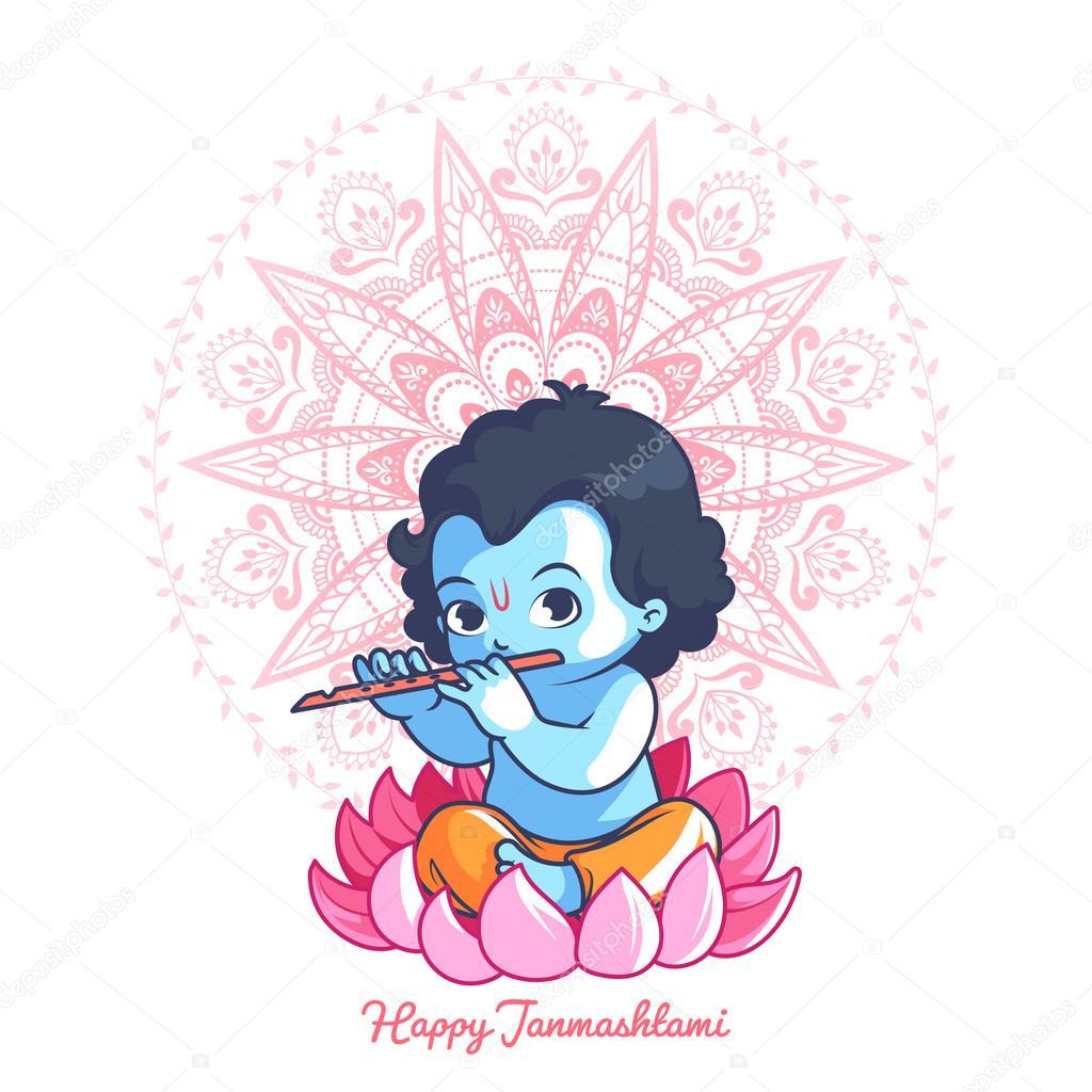 Kleinen Cartoon Krishna Mit Einer Querflote Auf Lotus Stockvektor