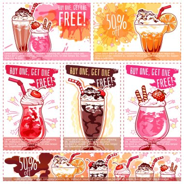 Six different discount coupons for milkshakes.