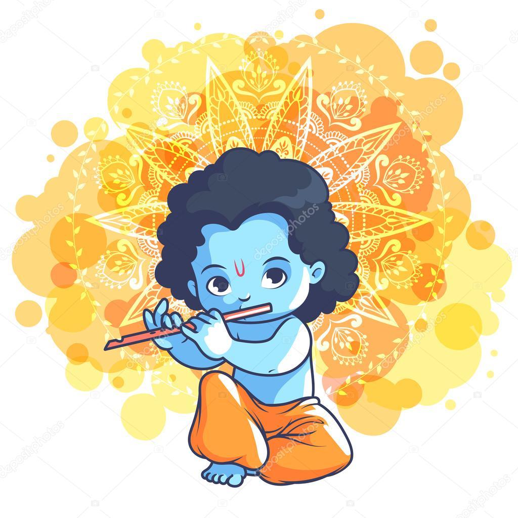 Kleinen Cartoon Krishna Mit Einer Querflote Stockvektor C Yavi