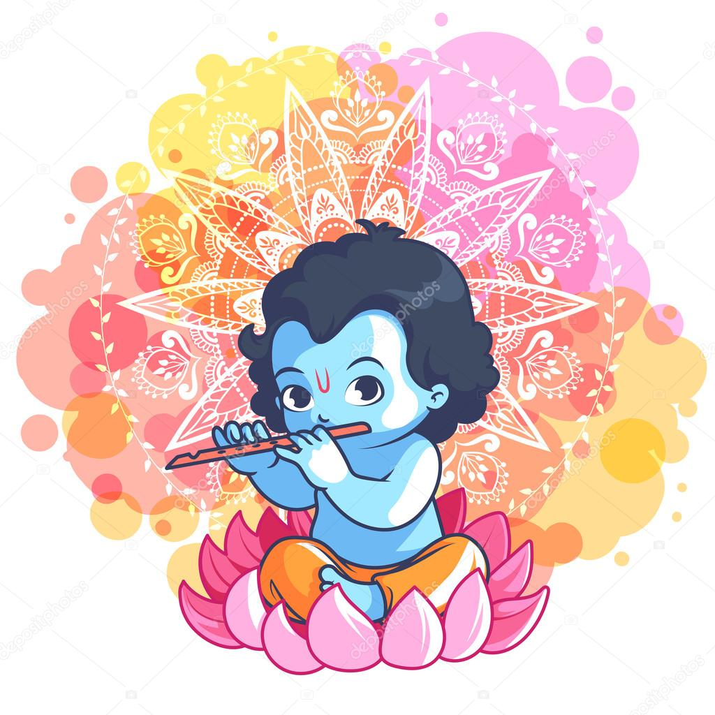 little cartoon krishna with a flute on the lotus stock vector
