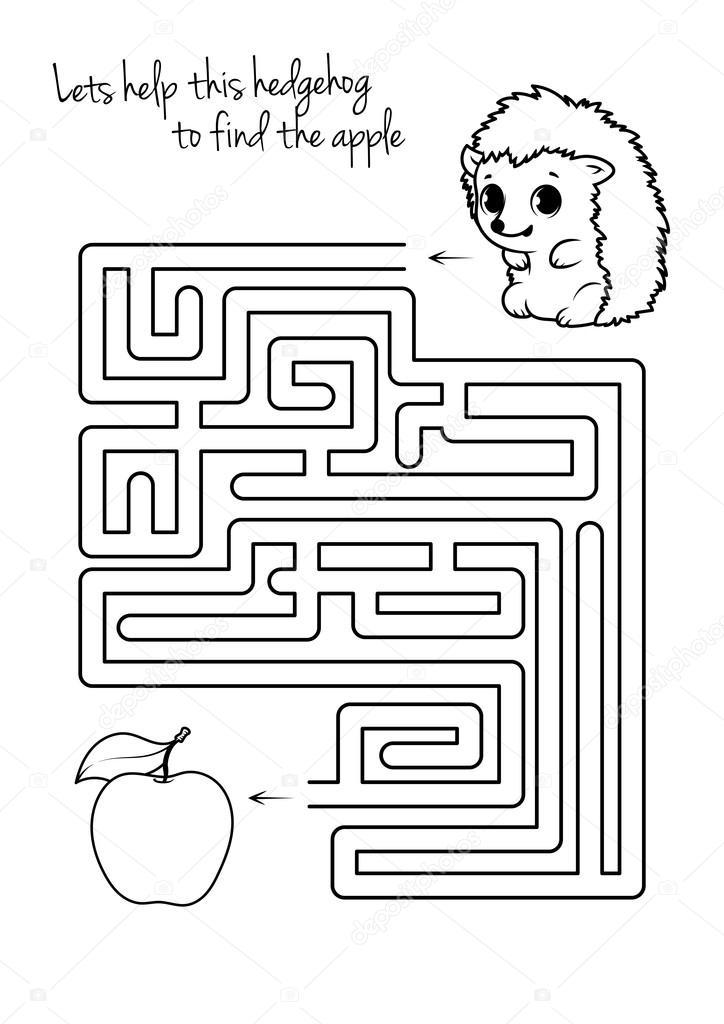 Labyrinth-Spiel für Kinder mit Igel und Apfel — Stockvektor © yavi ...