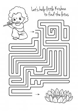 Maze game for kids with Krishna and lotus.