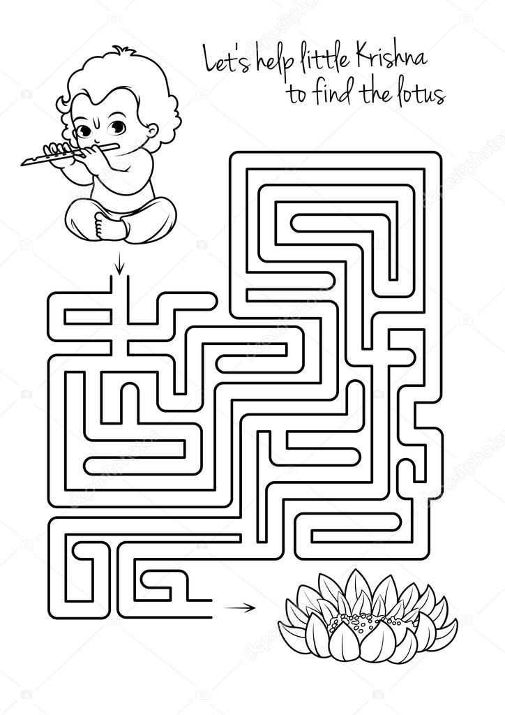 Labyrinth-Spiel für Kinder mit Krishna und lotus — Stockvektor ...