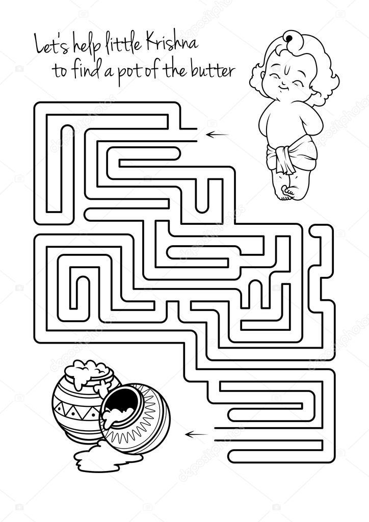 Labyrinth-Spiel für Kinder mit Krishna und butter — Stockvektor ...