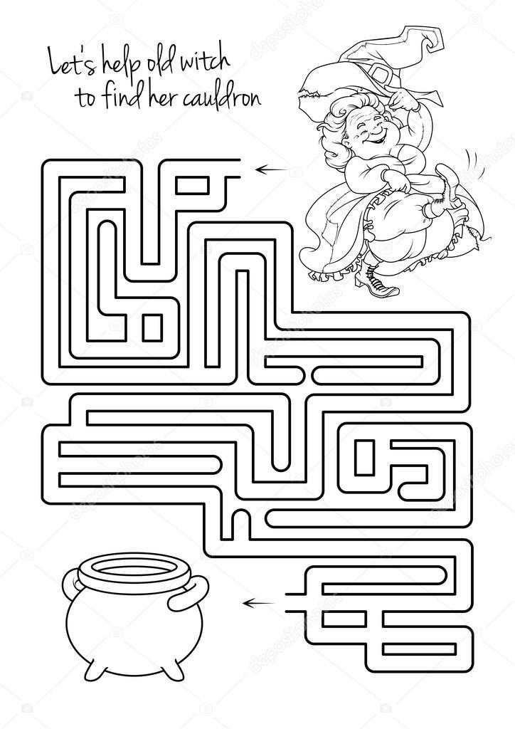 Labyrinth-Spiel für Kinder mit Hexe — Stockvektor © yavi #122726206