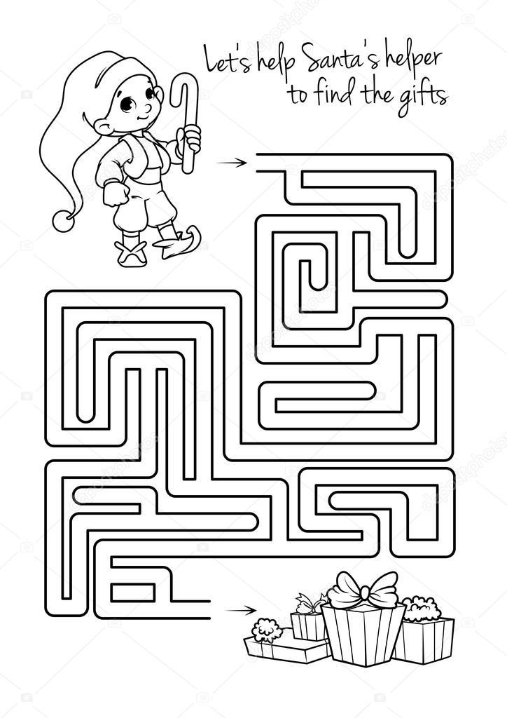 Labyrinth-Spiel für Kinder mit niedlichen Elfen und Geschenke ...
