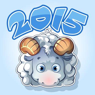 symbol of 2015 in blue tones