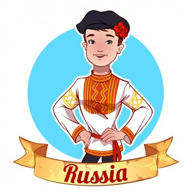 Boy in Russian national clothes