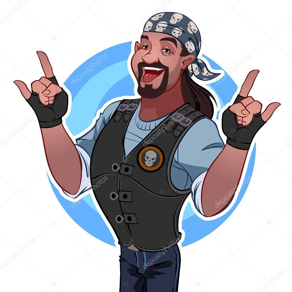 Smiling man in the bandana. Rocker