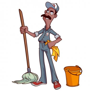 Smiling cleaner with a mop and bucket