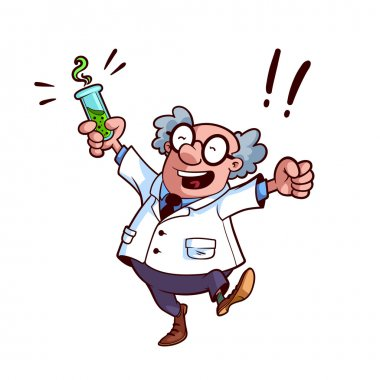 Happy professor in a white robe with a chemical flask in his han