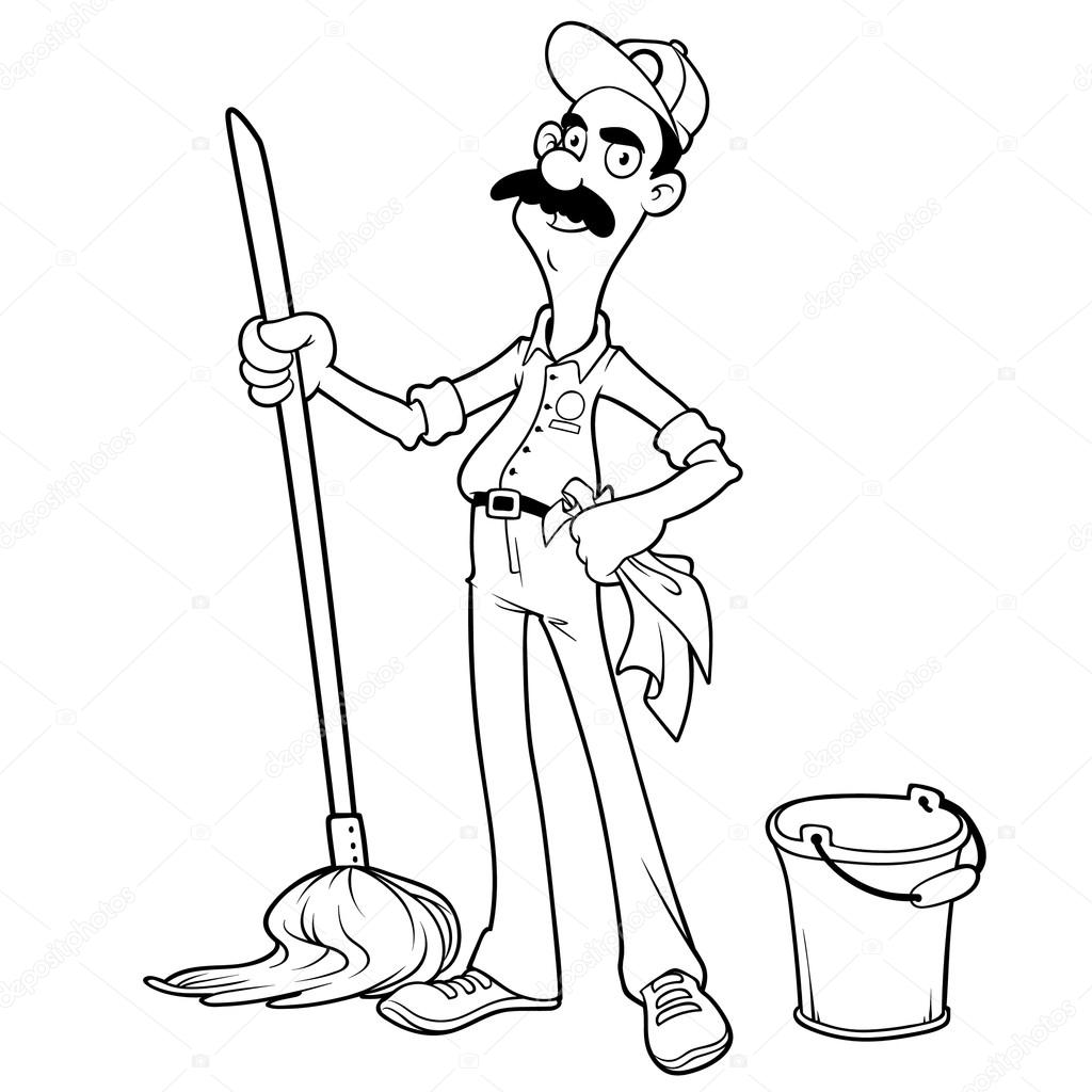 Smiling cleaner with a mop and bucket outlined on a white backgr