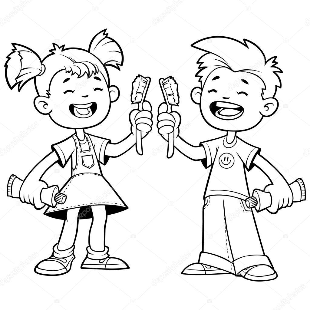 Dos Niños Alegres Con Cepillos De Dientes Esquema De Un Centrico