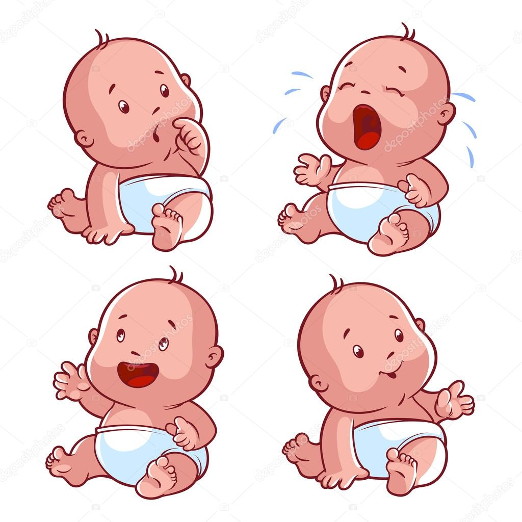 Baby toddler set, with worried baby, crying baby, happy baby, sm