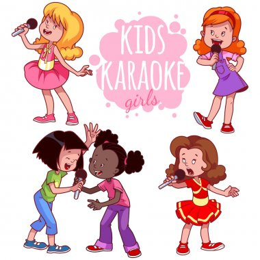 Cartoon children sing with a microphone. Vector clip art illustr