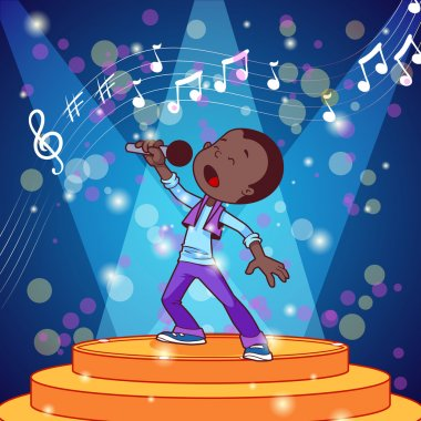 Cartoon boy singing with a microphone. Vector clip art illustrat