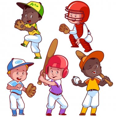 Cartoon kids playing baseball. Vector clip art illustration on a