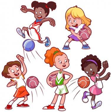Cartoon kids playing dodgeball. Vector clip art illustration on