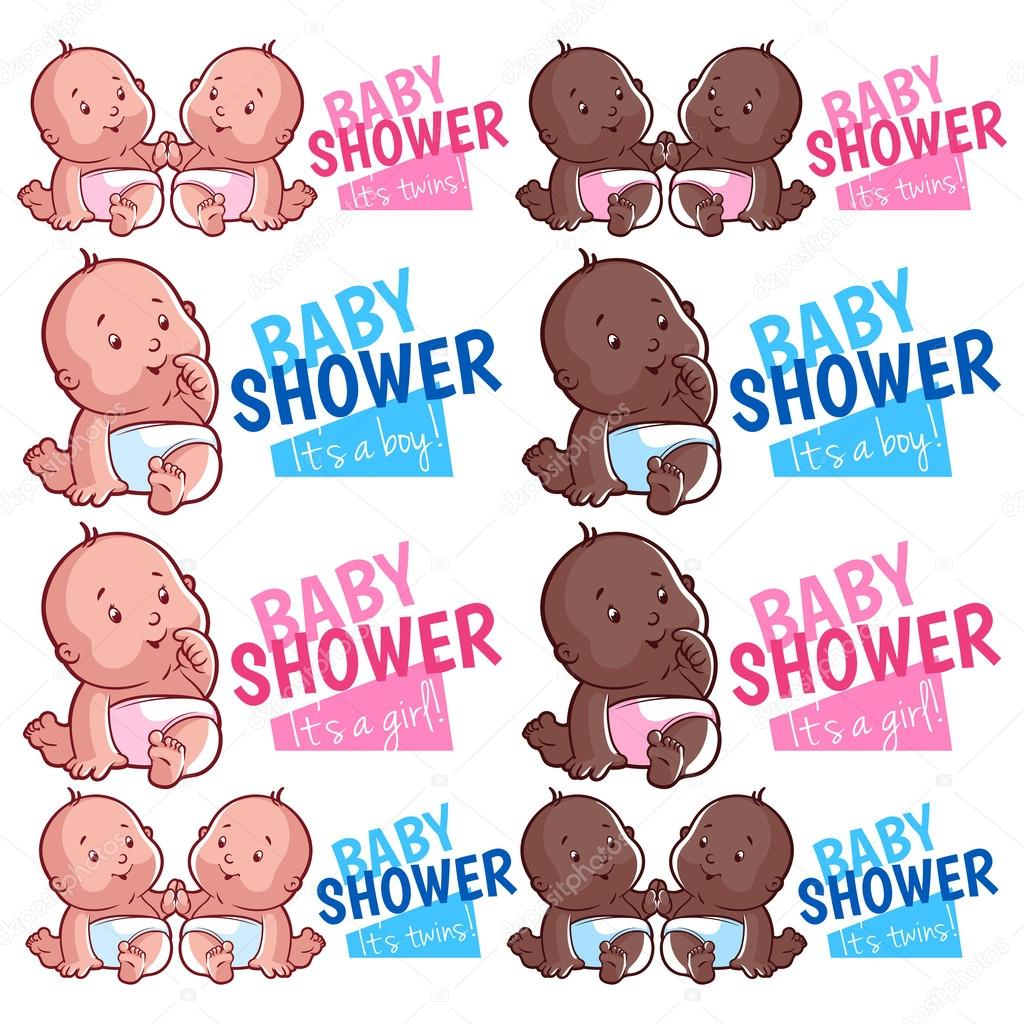 Logo Template For Baby Shower Boy, Girl And Twins. Vector Illust