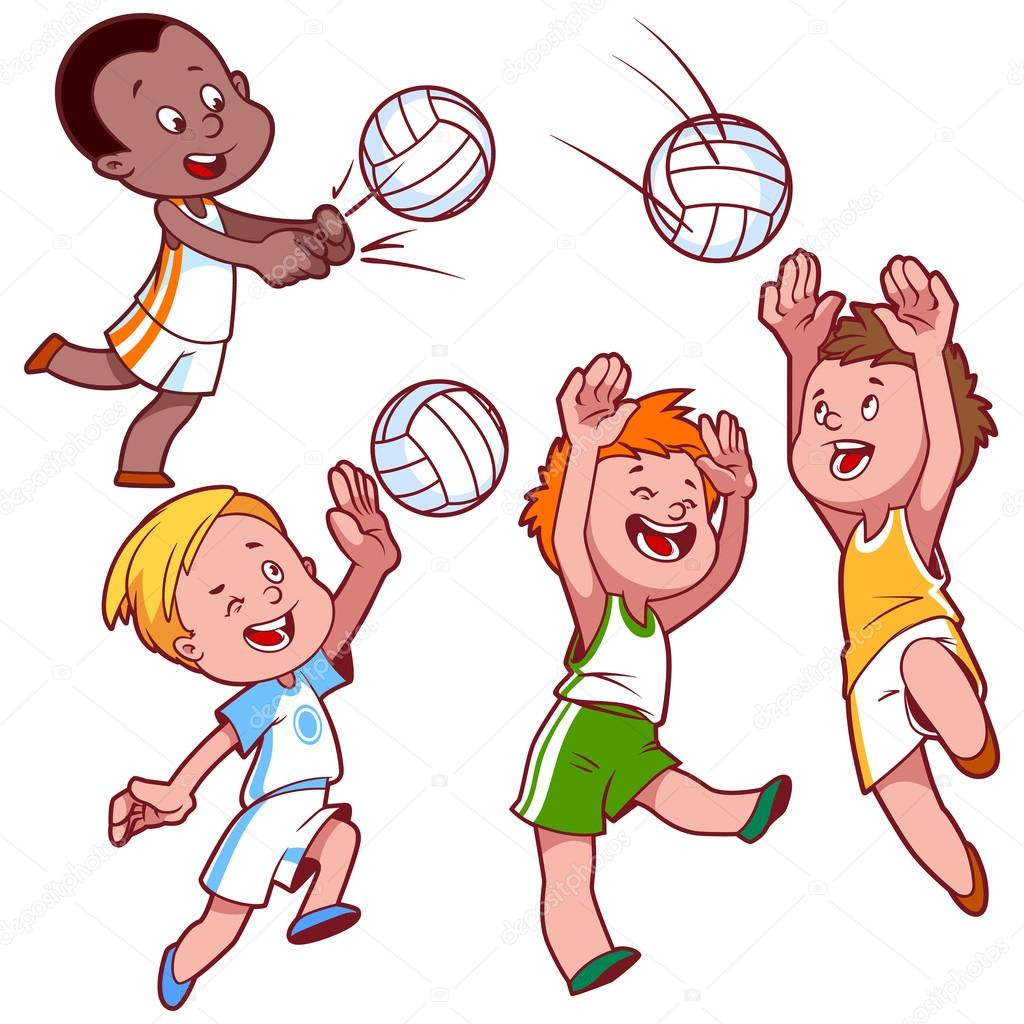 dibujos animados de ni u00f1os jugando voleibol vector clip Dodgeball Graphics Background Dodgeball Graphics Background