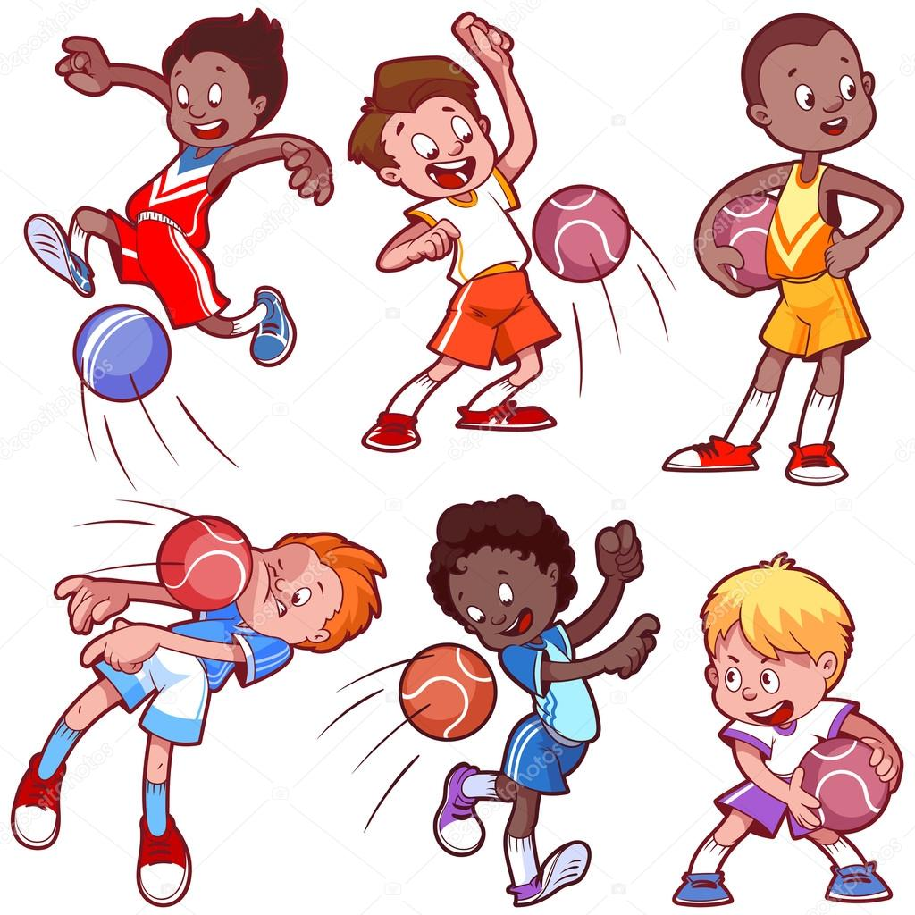 cartoon kids playing dodgeball vector clip art illustration on rh depositphotos com