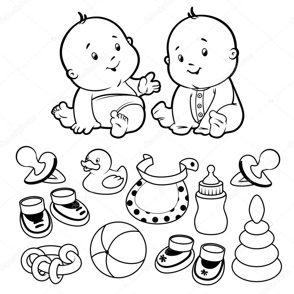 Two toddler, with baby items. Vector Illustration on a white bac