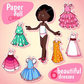 Fotografie Very cute paper doll with six beautiful dresses. Brunet girl