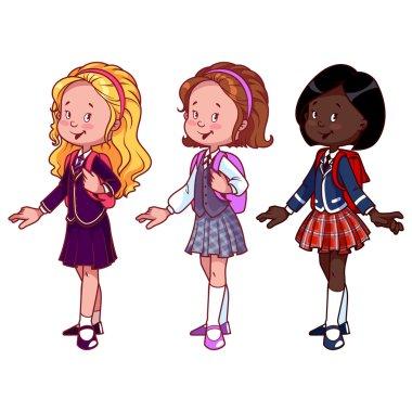 Three cute girls in school uniform.