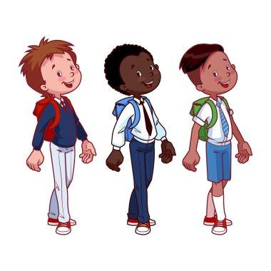 Three cute boys in school uniform.