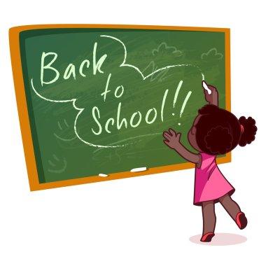 Little African American girl writing on a school board