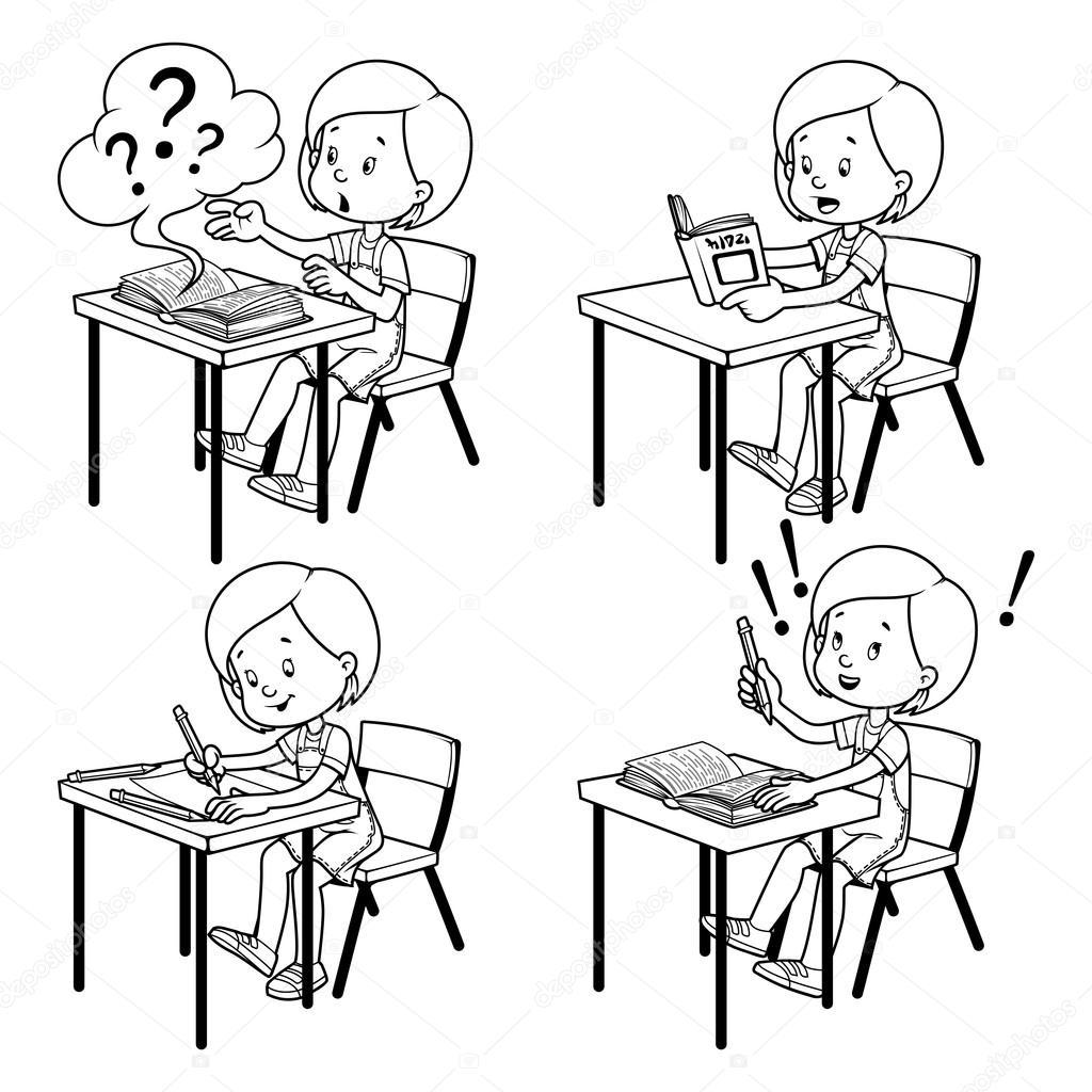 Рисунок ученица за партой
