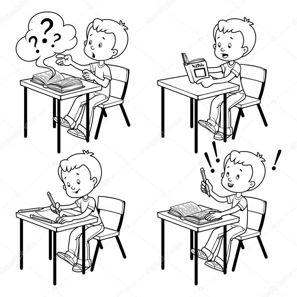Черно белые картинки учеников за партой