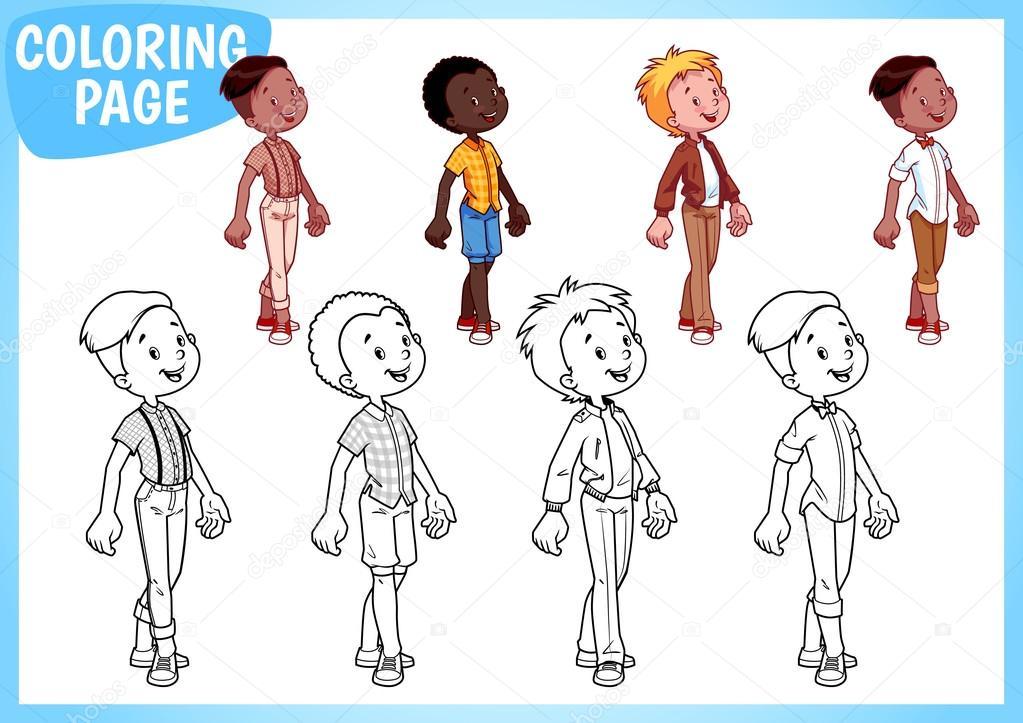 Boyama Sayfası şık Kıyafetler Içinde Dört çocuk Stok Vektör