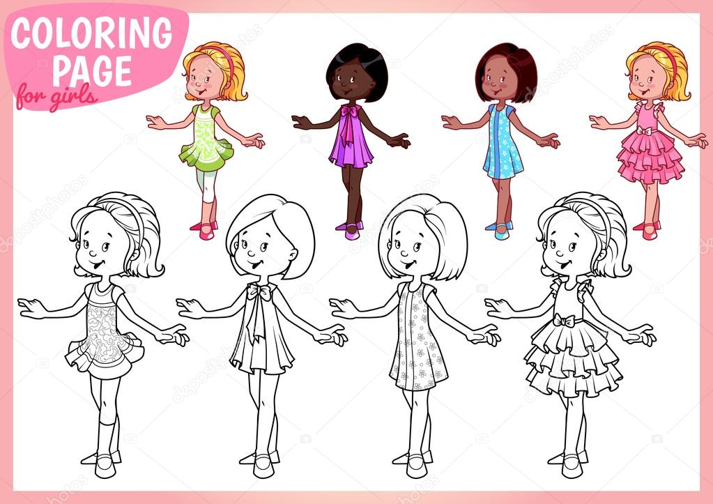 Kızlar Için Boyama Sayfası Dört Genç Kız Güzel Elbiseler Stok