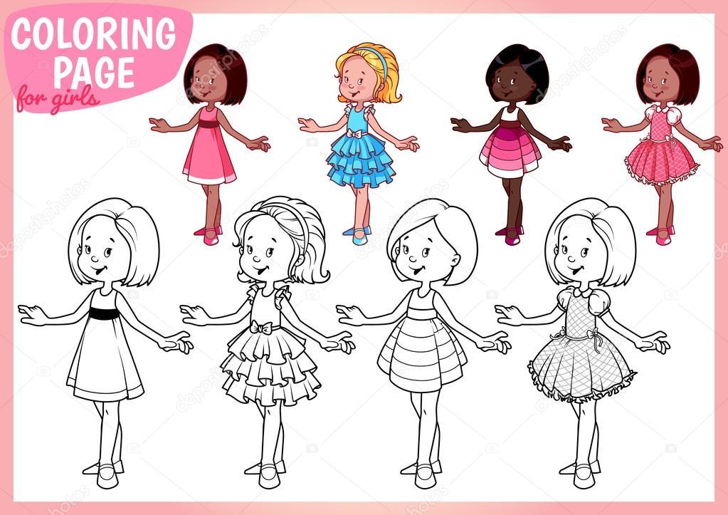 kleurplaat voor meisjes vier jonge in mooie jurken