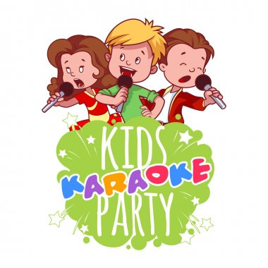 Cartoon children sing with a microphone. Logo template for children's karaoke party. Vector clip art illustration on a white background. clip art vector