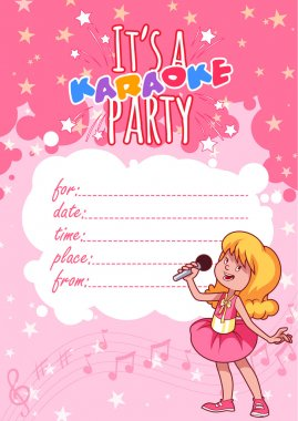 Invitation to a children's karaoke party in a pink color