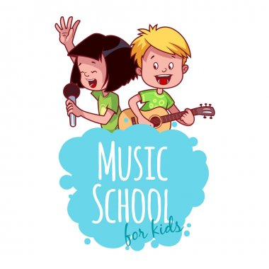 Logo template for music school with two children.